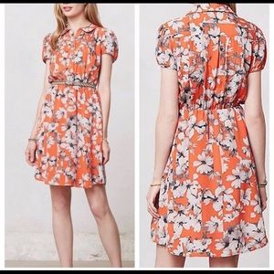 Anthro Maeve Floral Spectrum Day Silk Dress